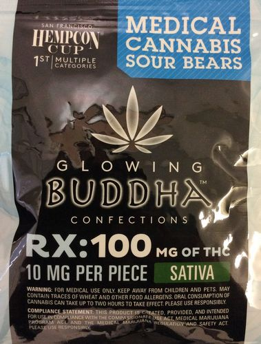 Glowing Buddha Confections Sour Bears 100mg Sativa
