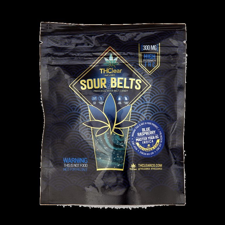 THClear BLUERASPBERRY SOUR BELTS - 300MG