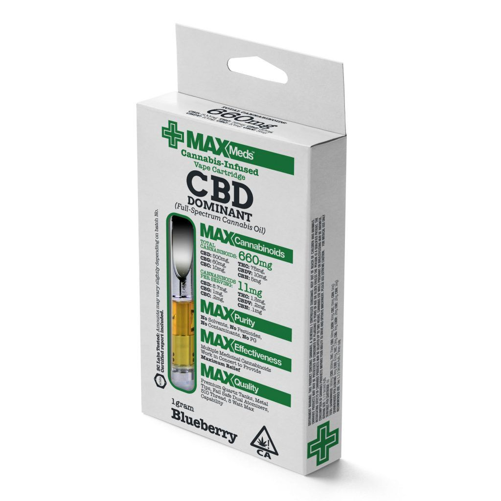 MaxMeds CBD Dominant Catridges (Full-Spectrum Cannabis Oil) - Blueberry Flavored