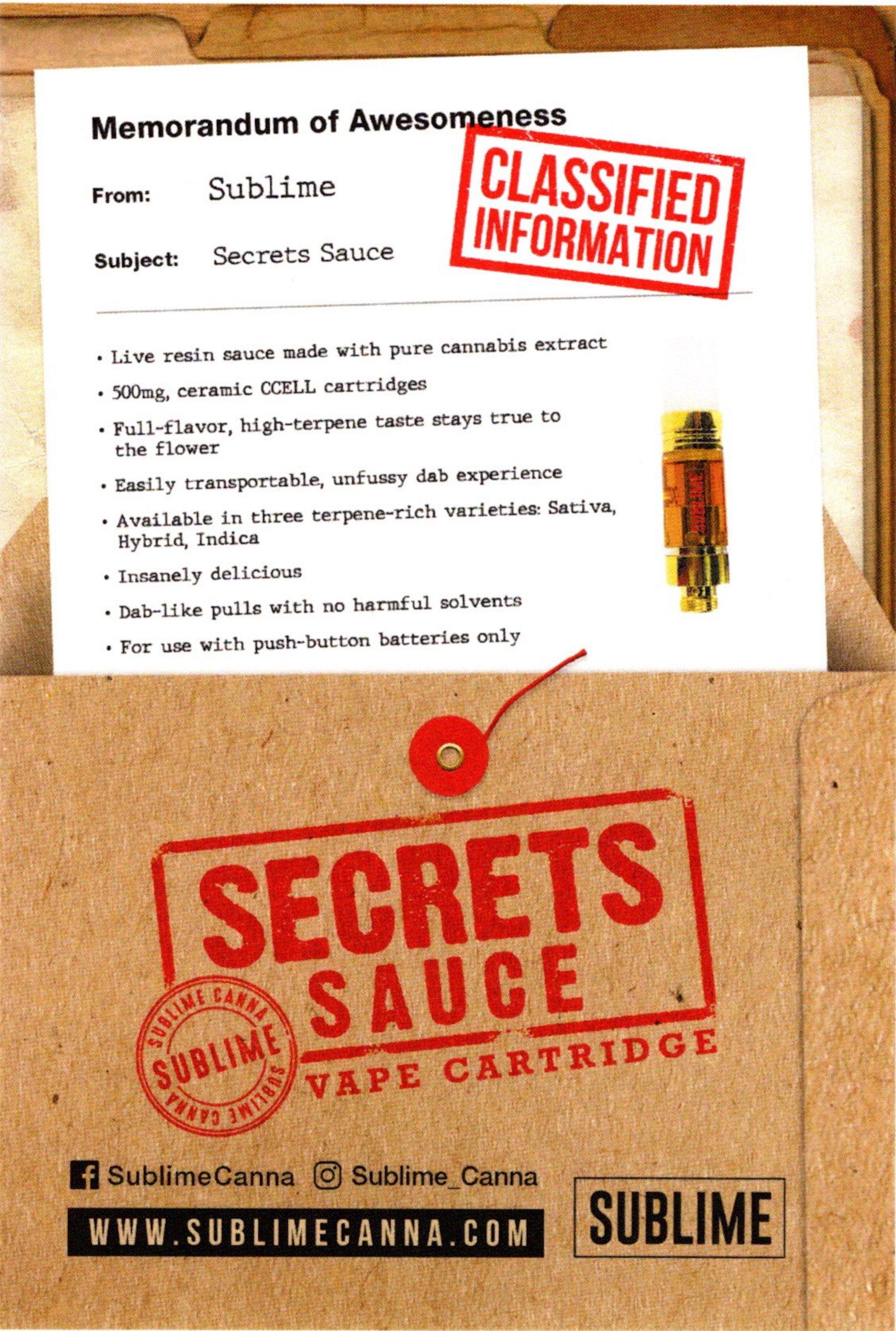 Sublime Secret Sauce Cartridge - Fire OG (Hybrid)