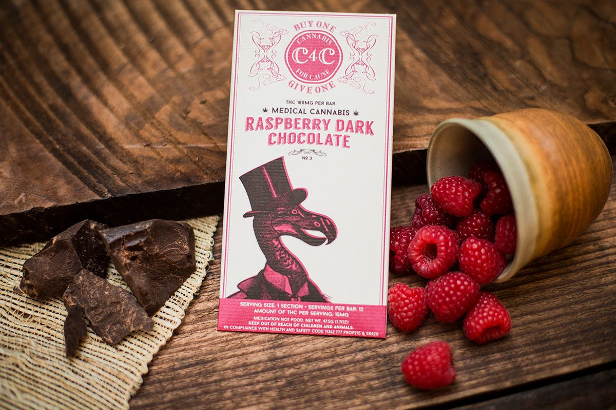 Raspberry Dark Chocolate Candy Bar -180 Mg.  Cannabis 4 Cure