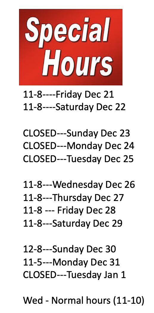 NOTICE REGARDING LIMITED Dec 21 - Dec 28 Hours