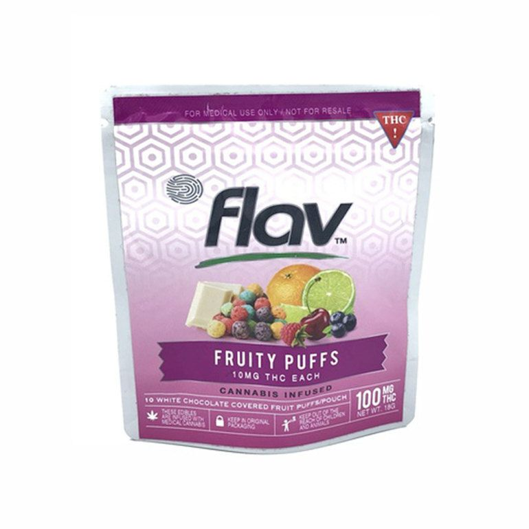 100mg FlavRX White Chocolate Fruit Puff Snack Pouch