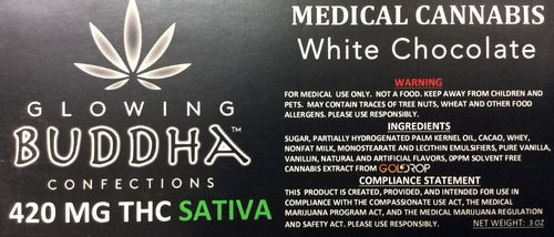 White Chocolate 420mg Sativa by Glowing Buddha Confections