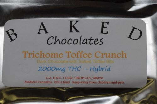 Baked California Chocolate Bar - Trichome Toffee Crunch 2,000mg