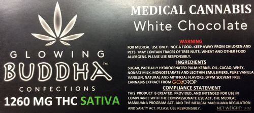 White Chocolate Bar 1260mg Sativa by Glowing Buddha Confections