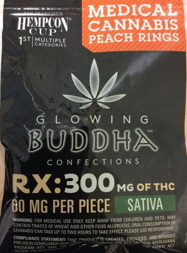 Glowing Buddha Confections Peach Rings 300mg Sativa