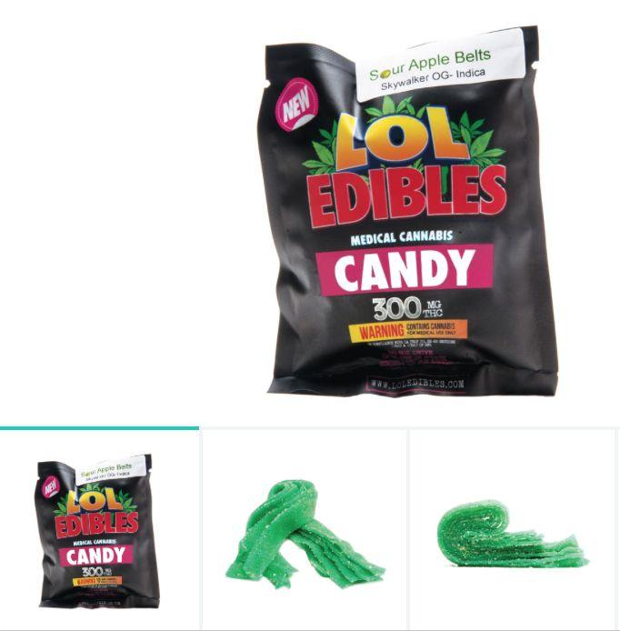 Sour Apple Belts (300 mg.) LOL Edibles