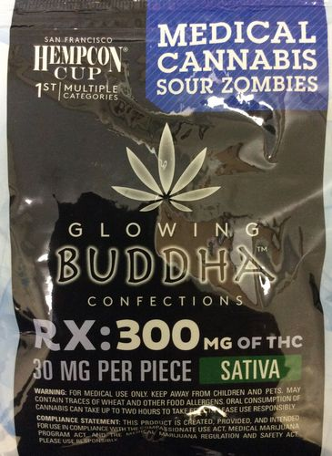 Glowing Buddha Confections Sour Zombies 300mg Sativa