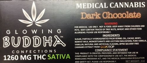 Dark Chocolate Bar 1260mg Sativa by Glowing Buddha Confections