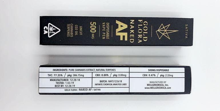 Gold Flora - Naked AF (Sativa) - 500mg Disposable Pen