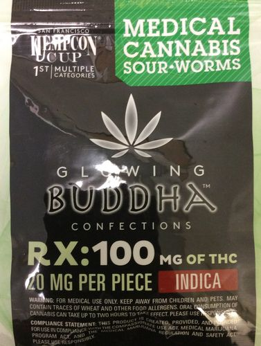 Glowing Buddha Confections Sour Worms 100mg Indica