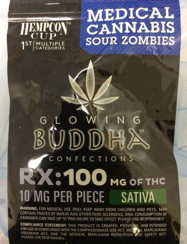 Glowing Buddha Confections Sour Zombies 100mg Sativa