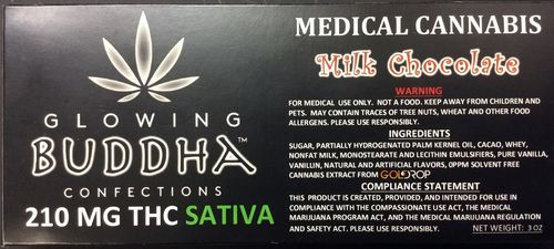 Milk Chocolate Bar 210mg Sativa by Glowing Buddha Confections