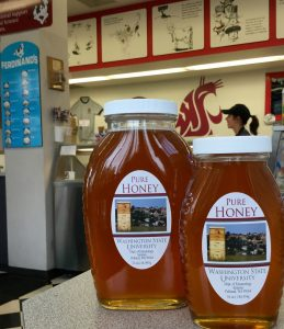 Two bottles, a 1 lb and 2 lb jar, of WSU honey in the Ferdninan'd Creamery shoppe