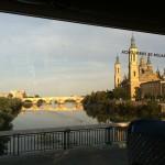 Entering Zaragoza, Pilar Cathedral in background.