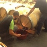 Racking barrels at Lynch Bages