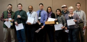 WSU viticulture and enology students and faculty with their awards at the 2015 Washington Association of Wine Grape Growers annual conference. Pictured from left to right: Markus Keller, Richard Larsen, Naidu Rayapati, Zachary Cartwright, Leslie Holland, Golnaz Badr, Joe Sperry, Brooke Kietzman, Les Walker.
