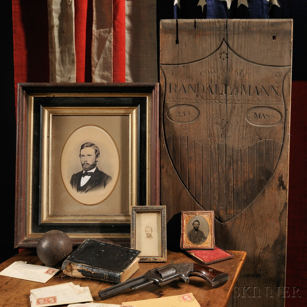 Temporary Grave Marker, Pistol, Bible, Documents of Corporal Randall Mann (Sold for Sold for: $13,200)