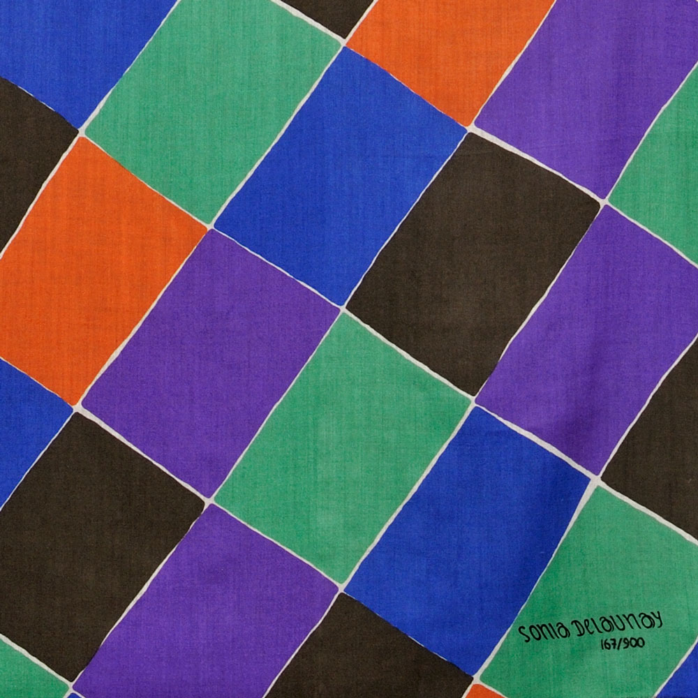 """[Detail] Multicolored Sonia Delaunay-Terk Shawl Entitled """"A   Damiers,"""" France, c. 1977 (Lot 556, Estimate $600-$800)"""