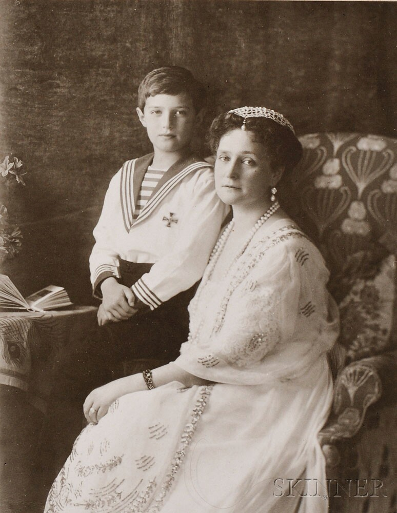 The Boisson and Eggler Workshop (St. Petersburg, Early 20th Century) Empress   Alexandra Fodorovna and Tsarevich Alexei Nikolaevich, collodion print, c. 1914 (Lot   351, Estimate $800-$1,200)