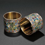 Faberge Gilded Silver and Enamel Napkin Rings