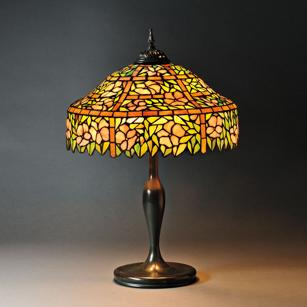 Mosaic Glass Table Lamp Attributed to Unique Art Glass & Metal Co. Art glass and metal, New York, early 20th century (Lot 25, Estimate $1,200-$1,500)