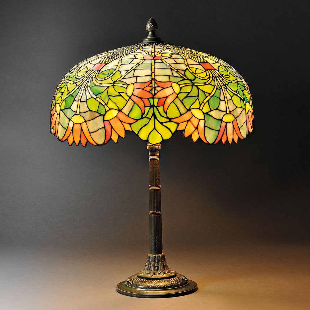 Egyptian Revival Table Lamp Attributed to Gorham, Mosaic glass and metal, Providence, Rhode Island, early 20th century (Lot 5, Estimate $1,200-$1,800)
