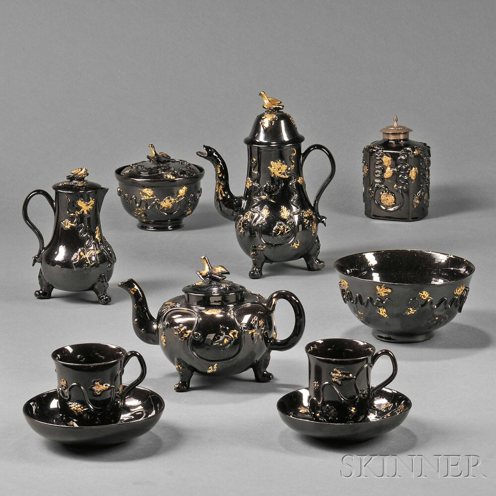 Staffordshire Jackfield Black Glazed Redware Partial Tea and Coffee Service, (Lot 1057, Estimate $4,000-$6,000)