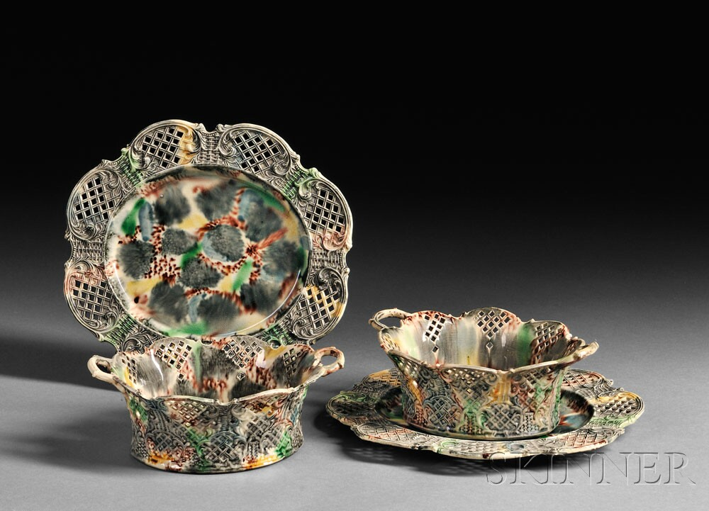 Pair of Staffordshire Cream-colored Earthenware Fruit Baskets and Underplates, (Lot 1350, Estimate $4,000-$6,000)