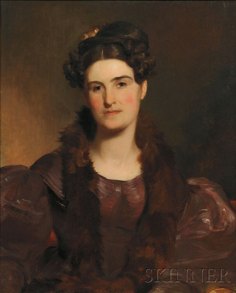 Portrait of Mrs. William Brown (Miss Deborah Norris) by Thomas Sully (American, 1783-1872), (Lot 1, Estimate $1,000-$1,500)