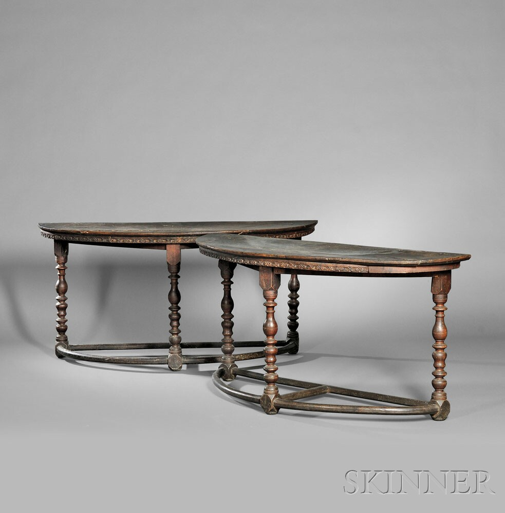 Pair of Italian Renaissance Demilune Walnut Console Tables (Lot 5,  Estimate $3,000-$5,000)