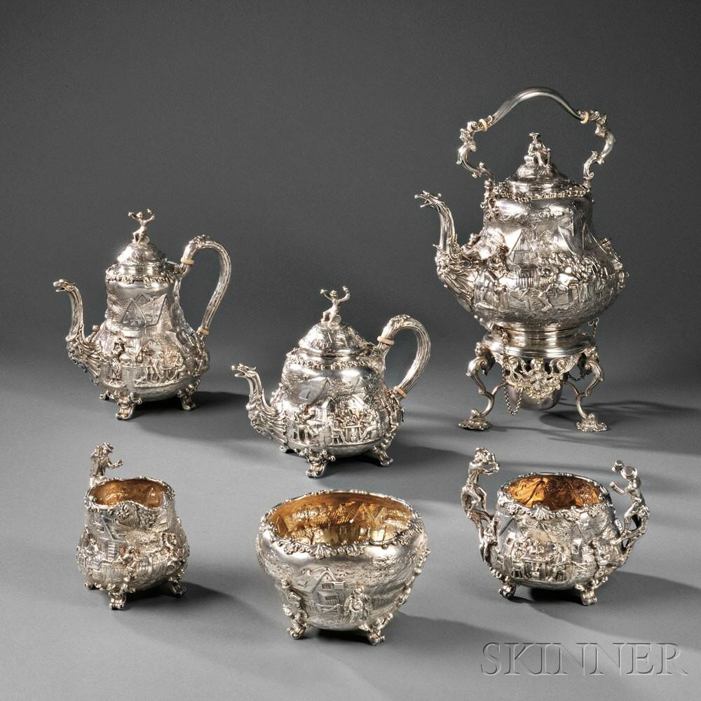 Six-piece Hunt & Roskell Ltd. Sterling Silver Tea Service (Lot 83, Estimate $8,000-$12,000)