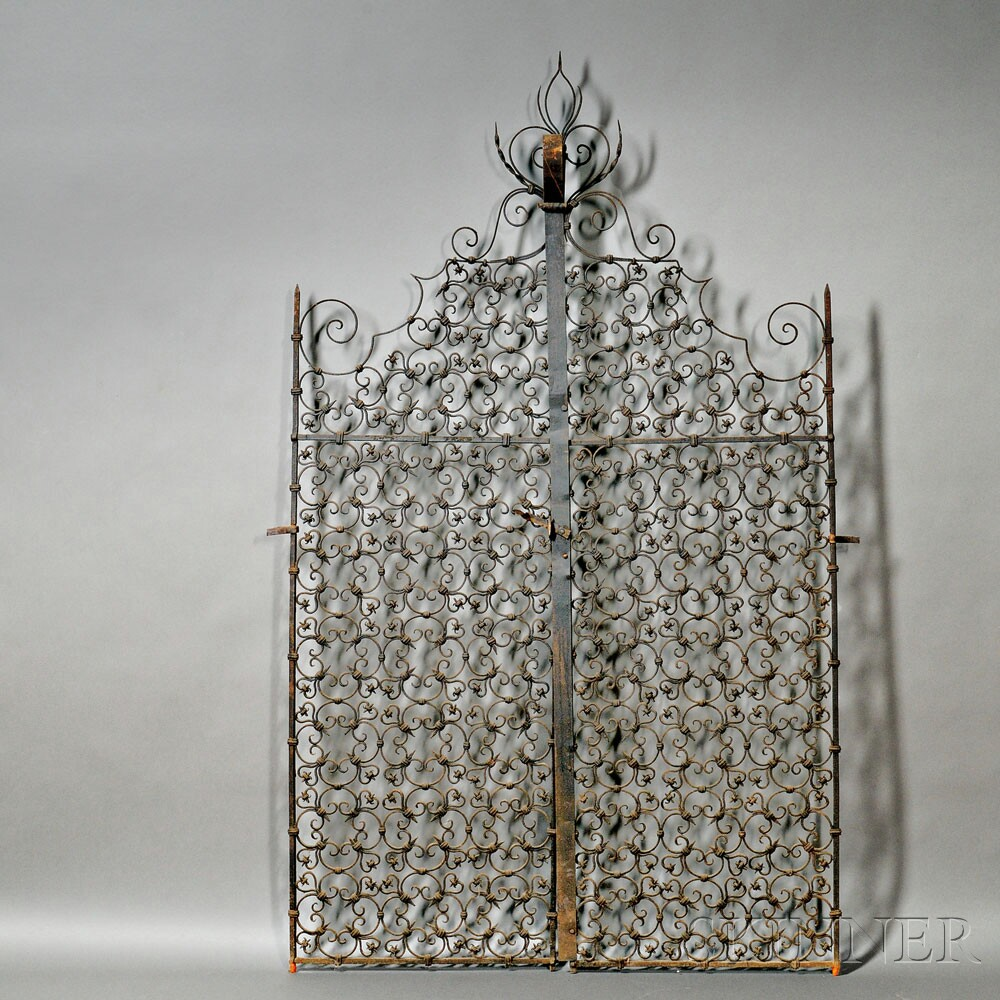 Pair of Spanish Colonial-style Wrought Iron Gates, (Lot 90, Estimate $3,000-$5,000)