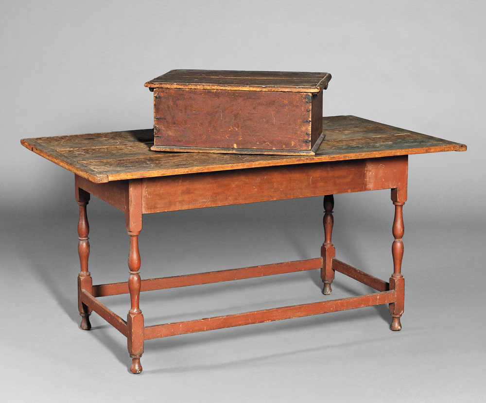 Large Maple and Pine Tavern Table (Lot 230, Estimate $1,000-$1,500), and a Red-  painted Bible Box (Lot 231, Estimate $400-$600)