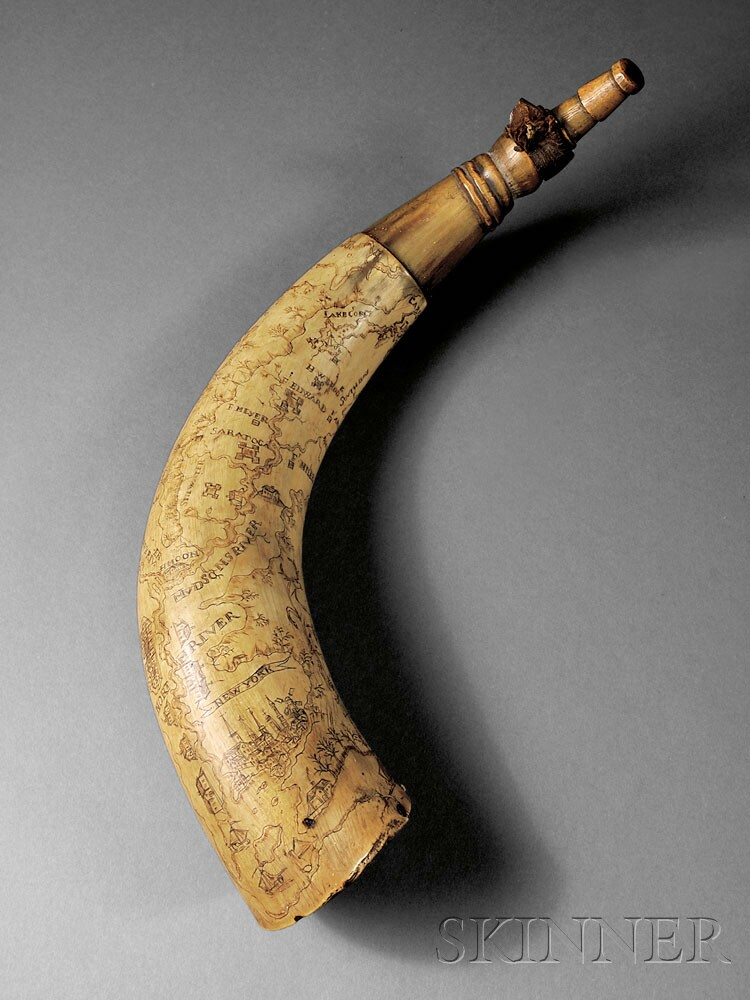 Engraved New York Map Horn, c. mid-18th century (Lot 132, Estimate $10,000-$12,000)