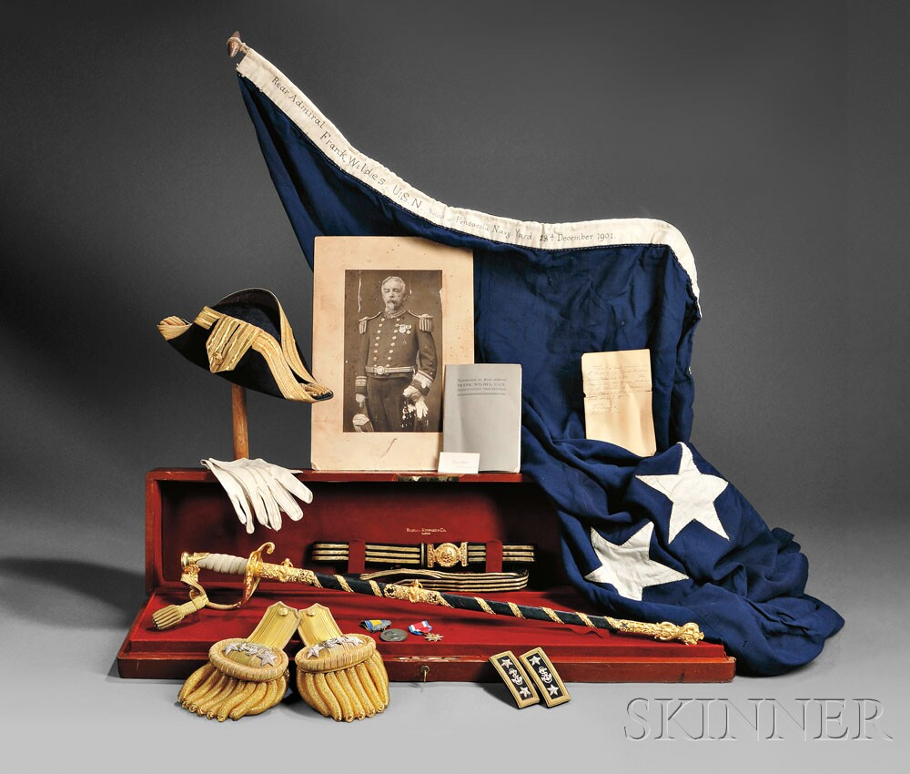 Cased Model 1852 Presentation Sword by Bigelow Kennard & Co. and Other   Objects Relating to Rear Admiral Frank Wildes, U.S.N., c. 1901 (Lot 97,   Estimate $20,000-$30,000)
