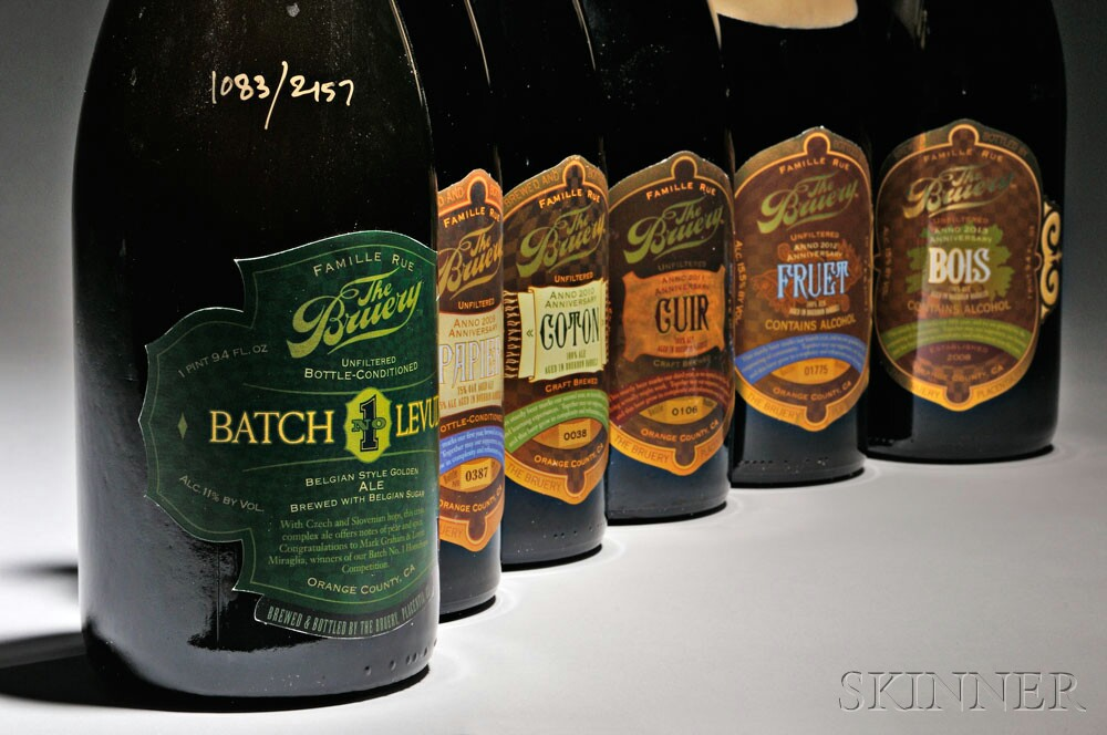 Vertical of Anniversary beers direct from the cellars of The   Bruery, proceeds to benefit The One Fund Boston (Lot 157,   Estimate $300-$500)