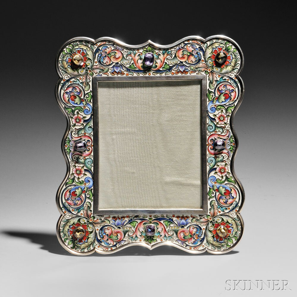 Russian Gem-set and Cloisonné Enameled .875 Silver Frame, Moscow, 1899-1908 (Lot 79, Estimate $14,000-$18,000)