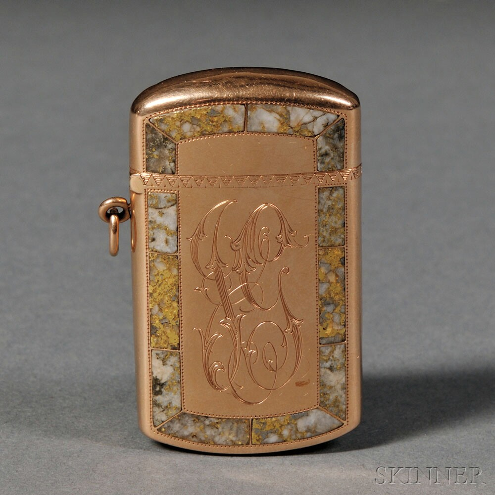 Shreve & Co. 14k Gold and Gold Quartz Match Safe, San Francisco, California, late 19th century (Lot 105, Estimate $800-$1,200)