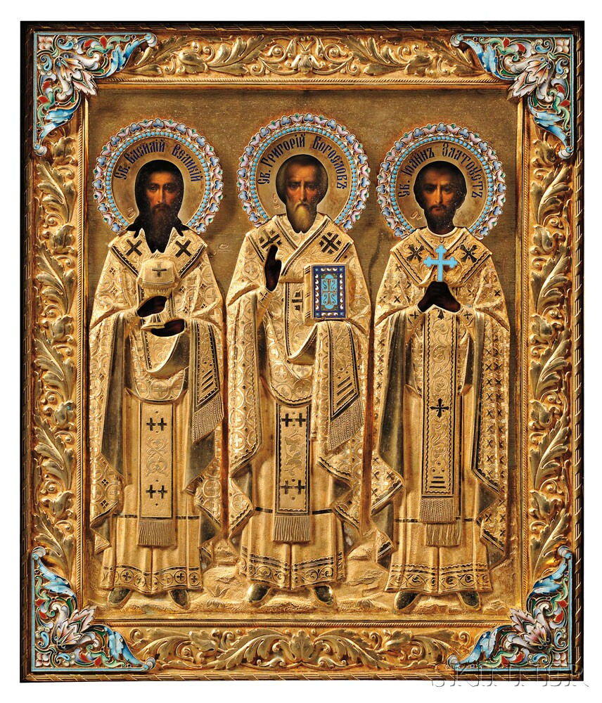 Russian Icon with Gold-washed Silver Riza by Khlebnikov, the icon late 19th/early 20th century (Lot 76, Estimate $2,000-$3,000)