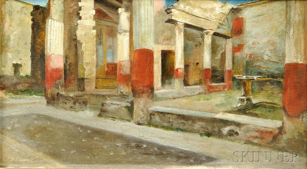 British School, 19th Century, Interior Ruins of Pompeii (Lot 210, Estimate $800-$1,000)