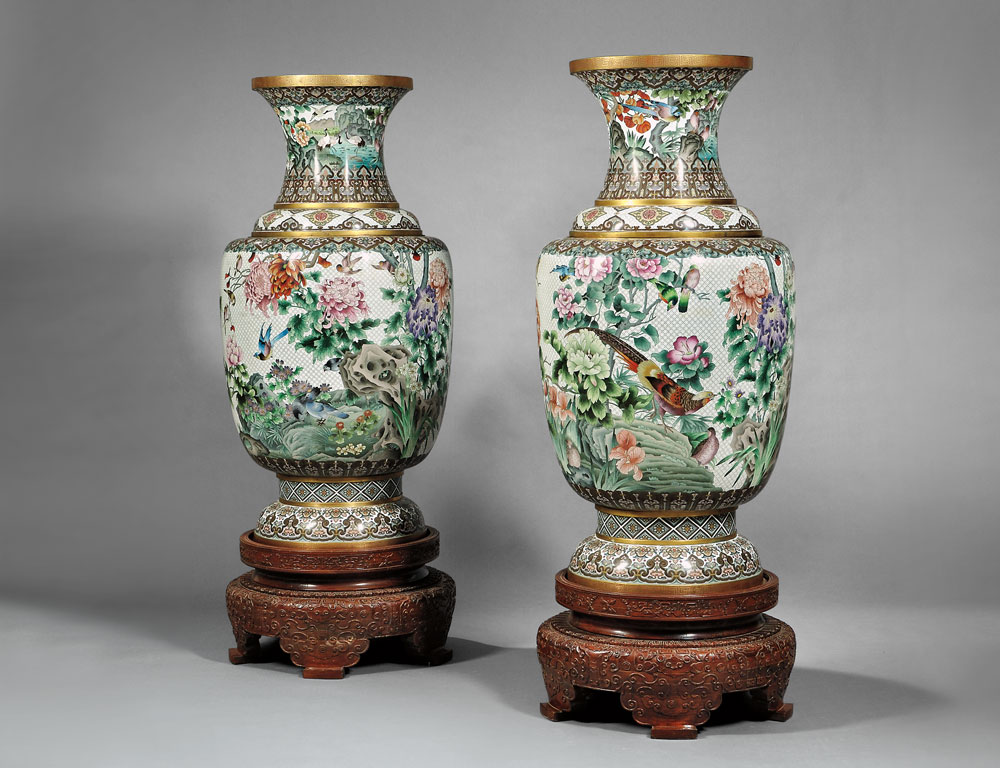 Pair of Monumental Cloisonne Vases and Wood Stands, China, 20th century (Lot 396, Estimate $5,000-$7,000)