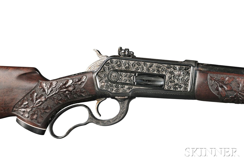 Custom Engraved and Carved Winchester Model 71, c. 1956 (Lot 303, Estimate $3,000-$5,000)