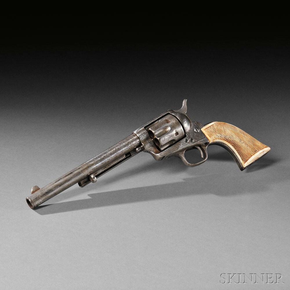 Engraved Nickel-plated Model 1873 Colt Single Action Revolver, c. 1877 (Lot 45, Estimate $8,000-$10,000)
