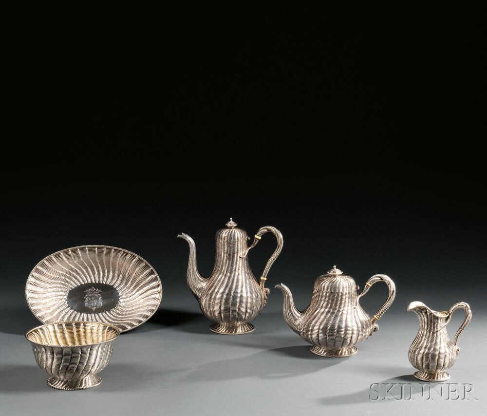 Five-piece Victorian Sterling Silver Tea and Coffee Service, London, 1860-61, Robert Hennell III, maker (Lot 13, Estimate $7,000-$9,000)