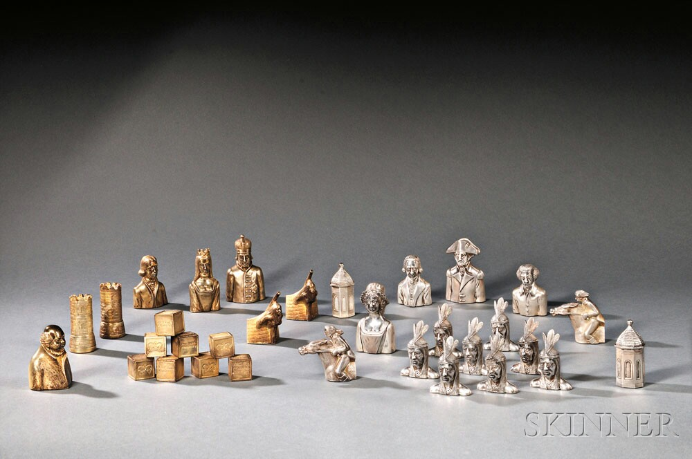 Elizabeth II Parcel-gilded Sterling Silver Liberty Chess Pieces, London, 1973, James Goodbrand, maker (Lot 32, Estimate $5,000-$7,000)