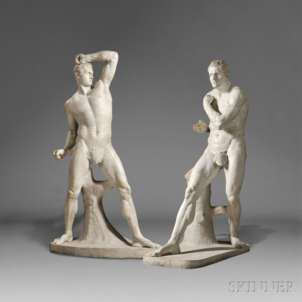 After Antonio Canova (Italian, 1757-1822), Pair of Carrara Marble Figures of the Pugilists Creugas and Damoxenos