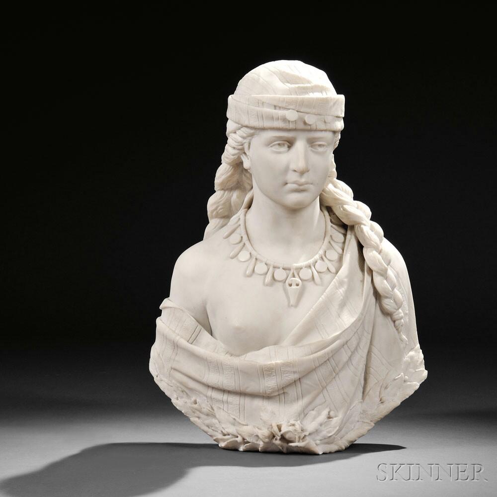 Cesare Lapini (Italian, 1848-1893)  Carrara Marble Bust of an Orientalist Beauty (Lot 259, Estimate $2,000-$4,000)