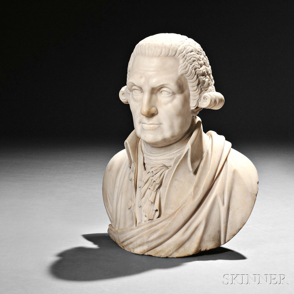 American School, 19th Century  White Marble Bust of George Washington (Lot 272, Estimate $7,000-$9,000)